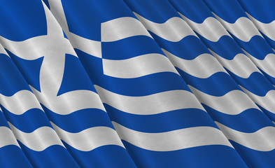Illustration of a flying Greek Flag