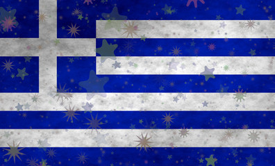 Greek flag with stars scattered around