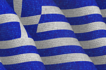 Illustraion of a flying Greek Flag
