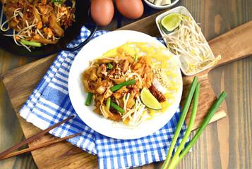 traditional version of Pad Thai or stir-fried rice noodles (Thai name is Pad Thai  baep dang derm).  stir-fried rice noodles is popular  dish in the Thai cuisine and street food