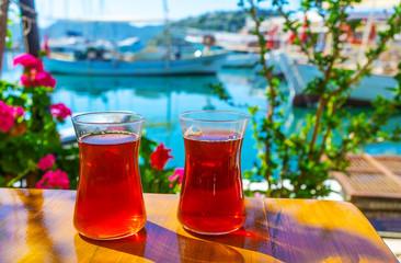 Morning tea on the coast of Kekova, Turkey