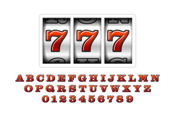 Slot machine with lucky seventh jackpot, 777. Slot machines retro font, letters and numbers