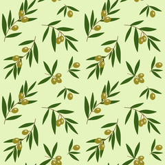 green olives branches with green leaves oil pattern on light green background seamless vector