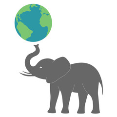 gray elephant hold the earth globe vector