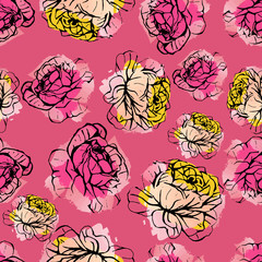 Seamless vector summer pattern of hand drawn ink roses on watercolor background. Fashion, pattern, journaling, logo, design, brand concept