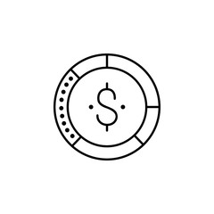 coin dollar icon.Element of popular finance icon. Premium quality graphic design. Signs, symbols collection icon for websites, web design,