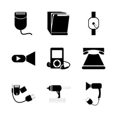 icon Technology with female, record, machine, hair dryer and mechanic