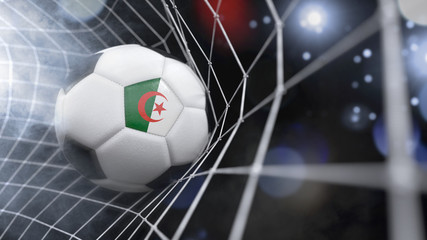 Realistic soccer ball in the net with the flag of Algeria.(series)
