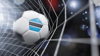 Realistic soccer ball in the net with the flag of Botswana.(series)