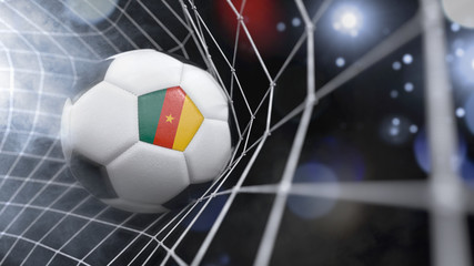 Realistic soccer ball in the net with the flag of Cameroon.(series)