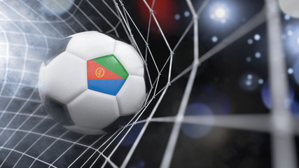Realistic soccer ball in the net with the flag of Eritrea.(series)