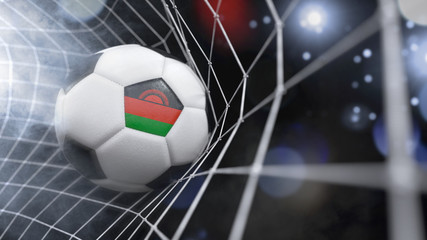Realistic soccer ball in the net with the flag of Malawi.(series)