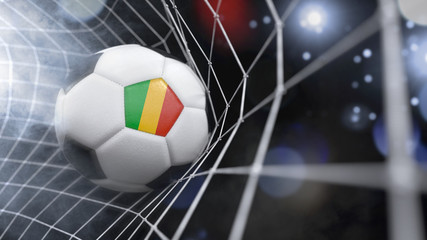 Realistic soccer ball in the net with the flag of Mali.(series)