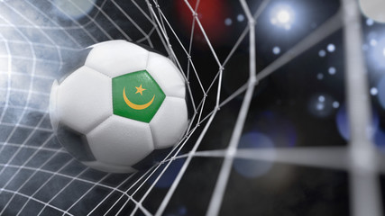 Realistic soccer ball in the net with the flag of Mauritania.(series)