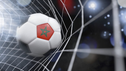 Realistic soccer ball in the net with the flag of Morocco.(series)