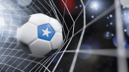 Realistic soccer ball in the net with the flag of Somalia.(series)