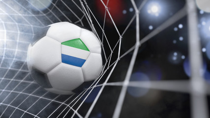 Realistic soccer ball in the net with the flag of Sierra Leone.(series)