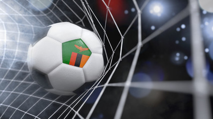 Realistic soccer ball in the net with the flag of Zambia.(series)