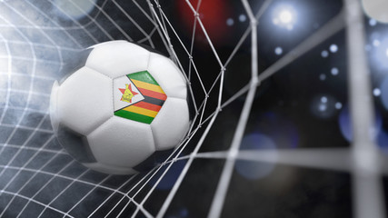 Realistic soccer ball in the net with the flag of Zimbabwe.(series)