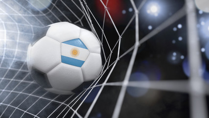Realistic soccer ball in the net with the flag of Argentina.(series)