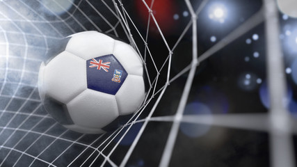 Realistic soccer ball in the net with the flag of Falkland Islands.(series)