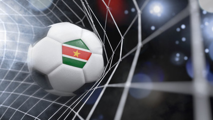 Realistic soccer ball in the net with the flag of Suriname.(series)