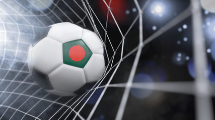 Realistic soccer ball in the net with the flag of Bangladesh.(series)