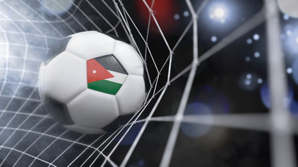 Realistic soccer ball in the net with the flag of Jordan.(series)