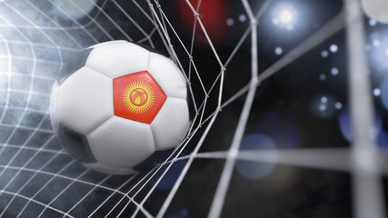 Realistic soccer ball in the net with the flag of Kyrgyzstan.(series)