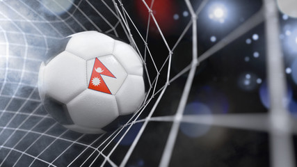 Realistic soccer ball in the net with the flag of Nepal.(series)