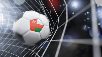 Realistic soccer ball in the net with the flag of Oman.(series)