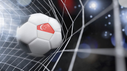 Realistic soccer ball in the net with the flag of Singapore.(series)