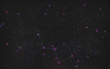 constellation of Cassiopeia in the endless expanse of the night sky, a real photo of deep space