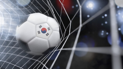 Realistic soccer ball in the net with the flag of South Korea.(series)