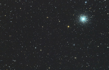 star cluster of m13 in the constellation of Hercules, a real photo through the mirror telescope of the Newton system