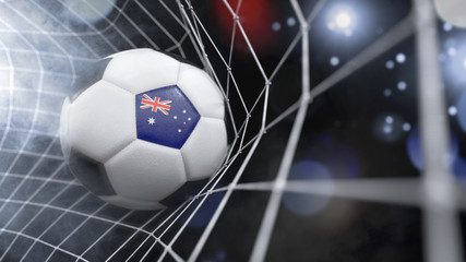 Realistic soccer ball in the net with the flag of Australia.(series)