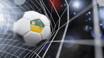 Realistic soccer ball in the net with the flag of Saskatchewan.(series)