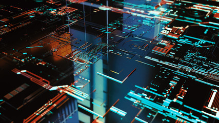 Digital binary data and electronic circuit board. Cyber security concept abstract background.