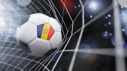 Realistic soccer ball in the net with the flag of Andorra.(series)