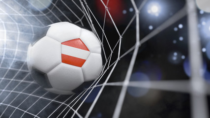 Realistic soccer ball in the net with the flag of Austria.(series)