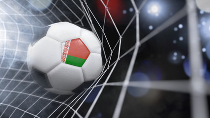 Realistic soccer ball in the net with the flag of Belarus.(series)