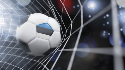 Realistic soccer ball in the net with the flag of Estonia.(series)