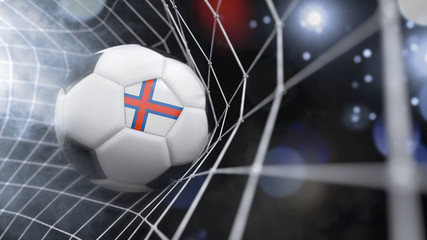 Realistic soccer ball in the net with the flag of Faroe Islands.(series)