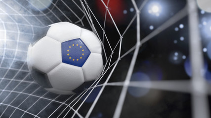 Realistic soccer ball in the net with the flag of European Union.(series)