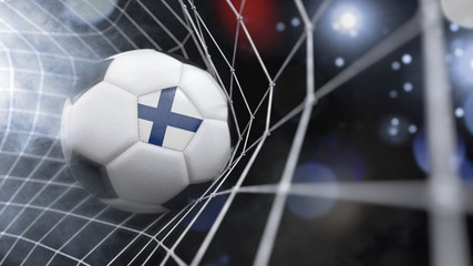 Realistic soccer ball in the net with the flag of Finland.(series)
