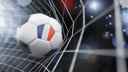 Realistic soccer ball in the net with the flag of France.(series)