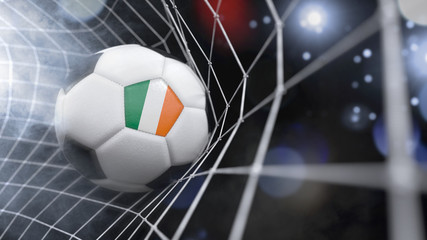 Realistic soccer ball in the net with the flag of Ireland.(series)