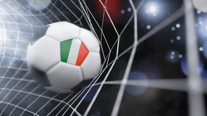 Realistic soccer ball in the net with the flag of Italy.(series)