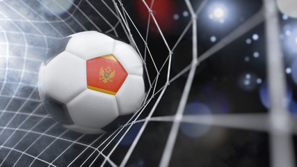 Realistic soccer ball in the net with the flag of Montenegro.(series)