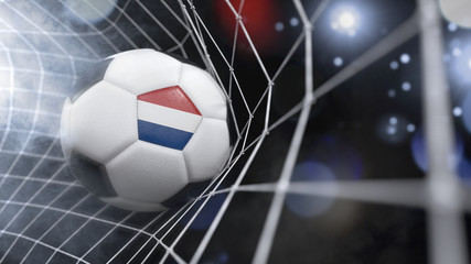 Realistic soccer ball in the net with the flag of Netherlands.(series)